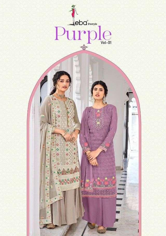 Purple Vol 1 By Eba Georgette Suit Exporter