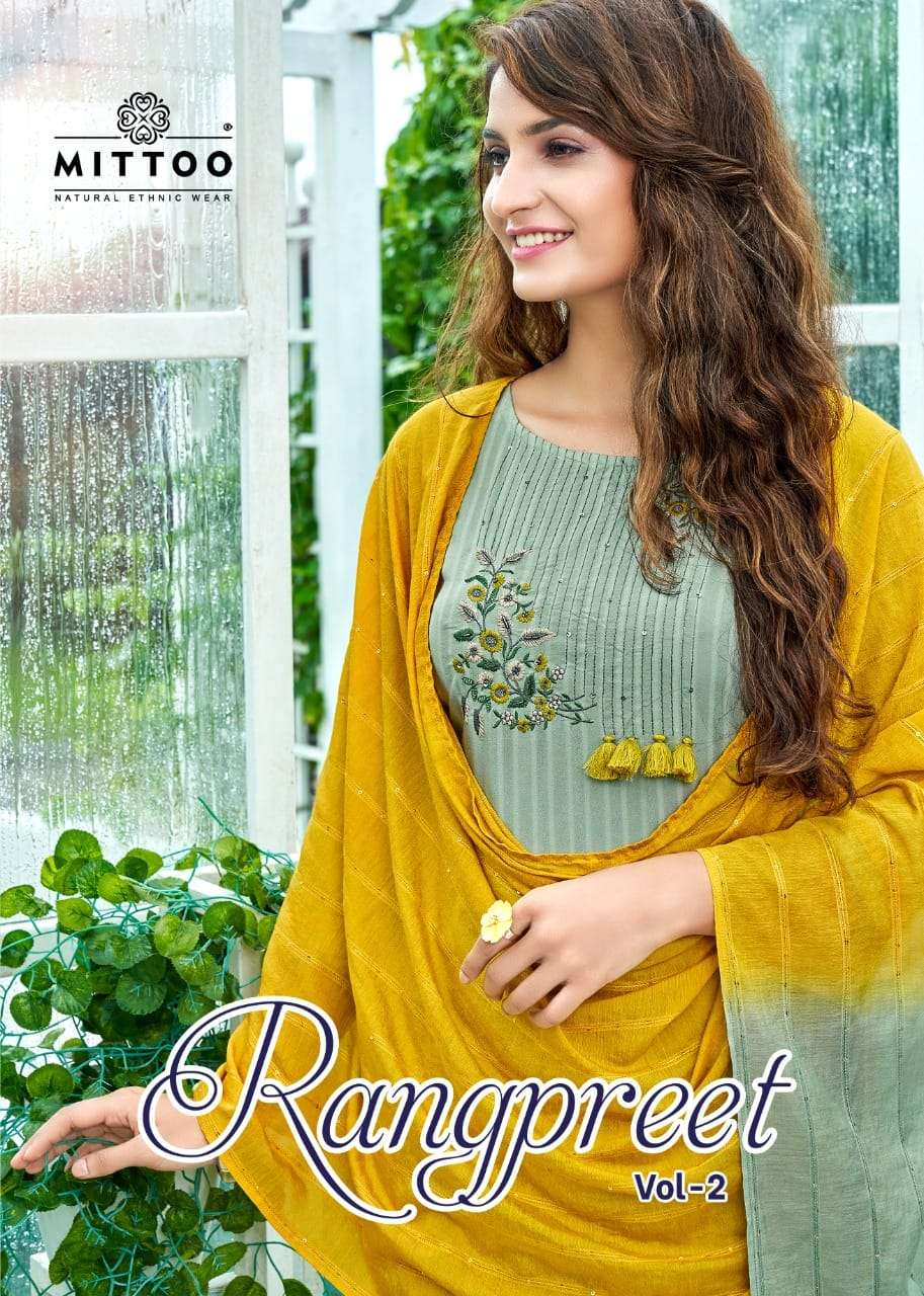 Rangpreet Vol 2 Rayon Readymade Long Kurti Pant With Dupatta By Mittoo