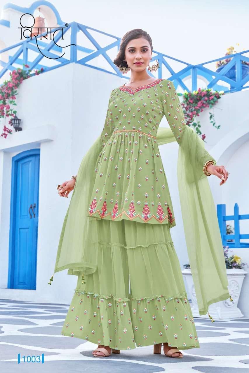 Resham By Virasat Full Stitch Plazzo Sharara Suits