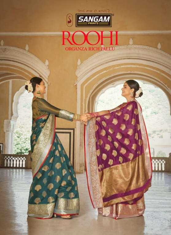 Roohi By Sangam Designer Organza Rich Pallu Weaving Sari Supplier
