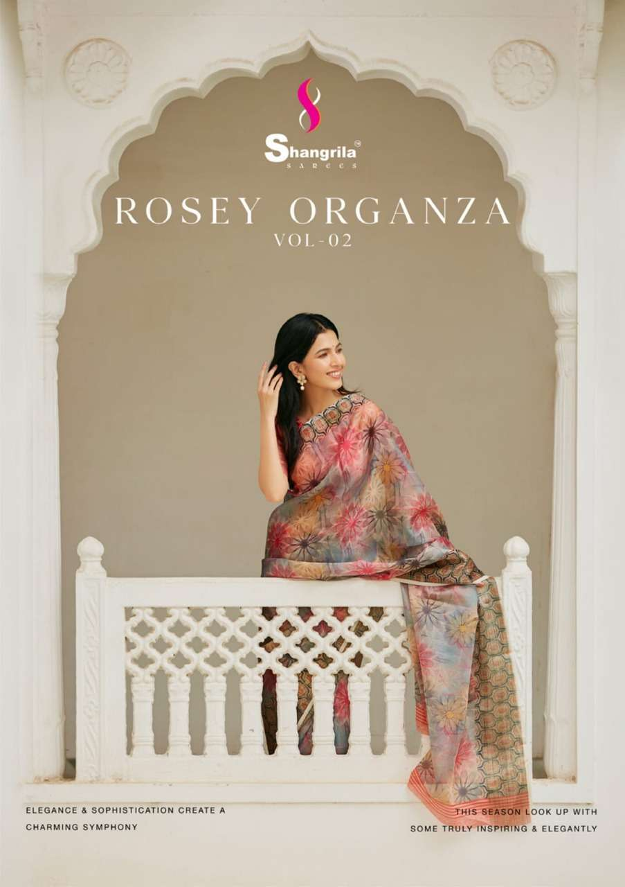 Rosey Orgenza Vol 2 Fancy Sarees With Weaving Border By Shangrila