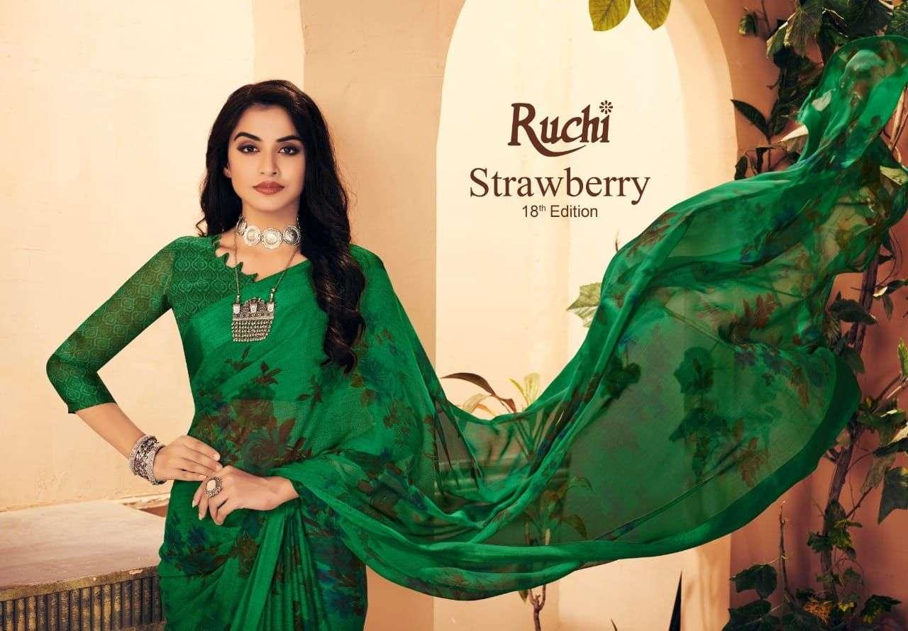 Ruchi Strawberry Vol 18 Chiffon Fancy Saree