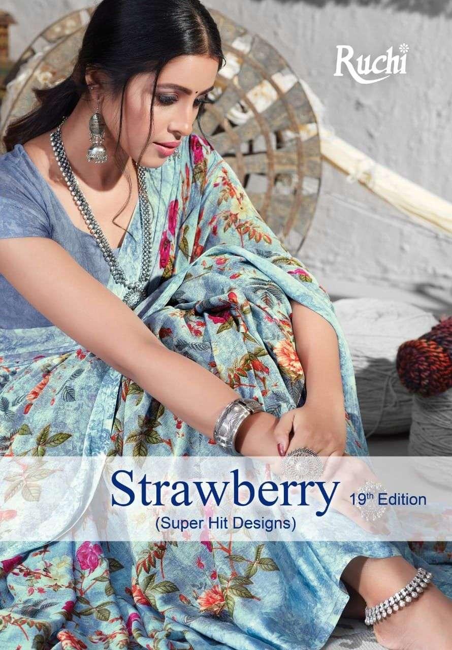 Ruchi Strawberry Vol 19 Printed Chiffon Sarees