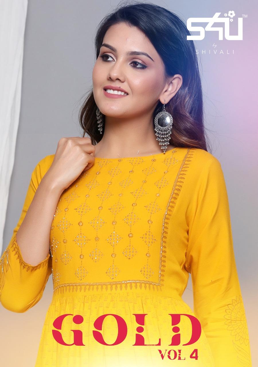 S4u Launch Gold Vol 4 Festival Wear Gown Style Kurti Wholesaler