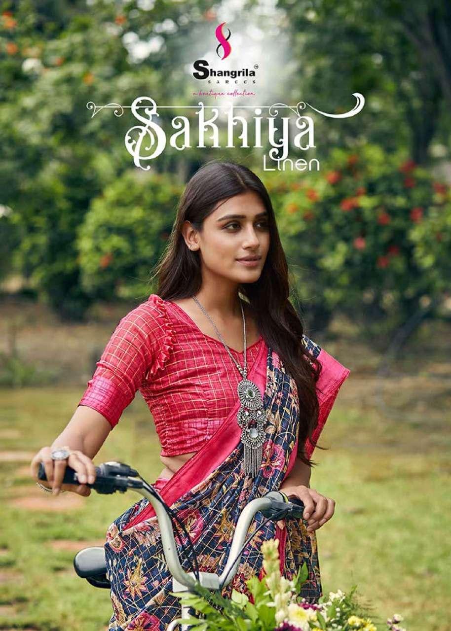 Sakhiya Linen Designer Sarees With Digital Fancy Print By Shangrila