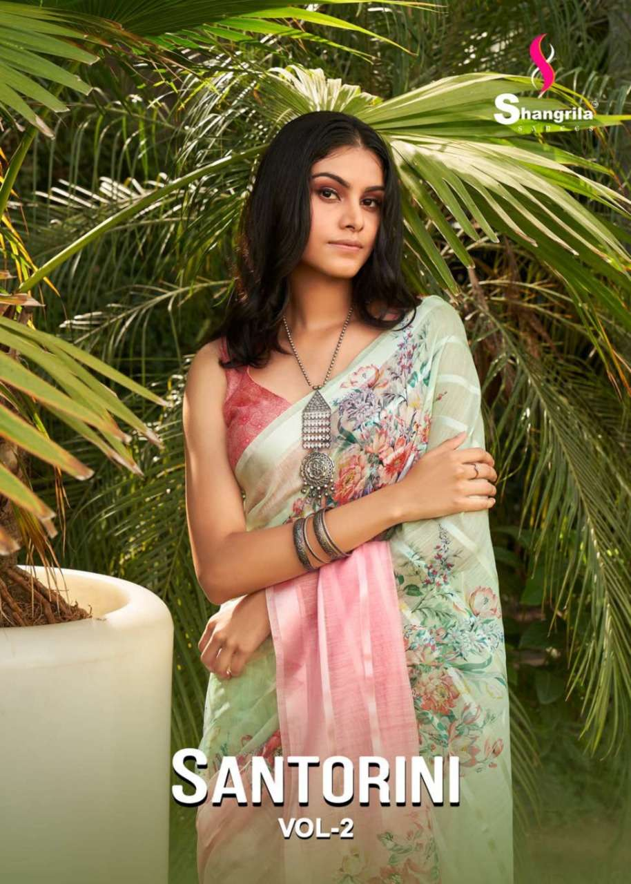 Santorini Vol 2 Latest Weaving Soft Fabric Sarees With Digital Designer Floral Prints By Shangrila