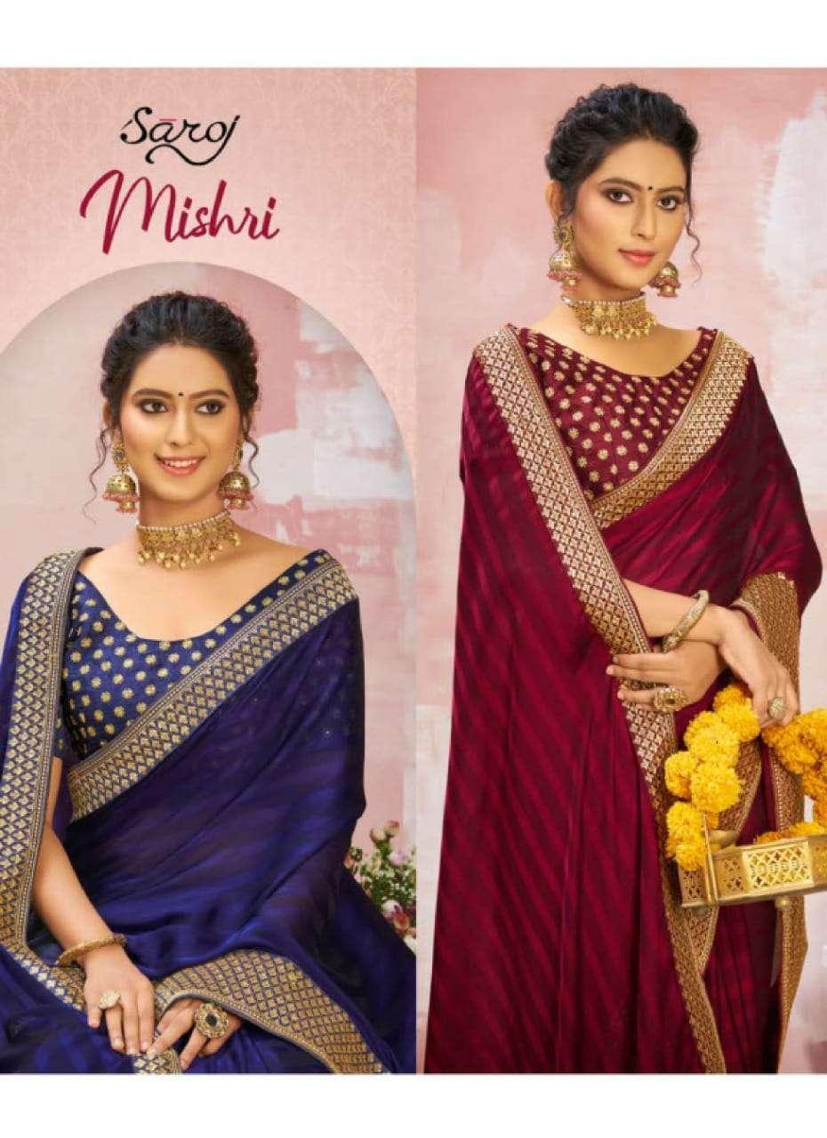 Saroj Introducing Mishri Weightless Party Wear Sattin Sarees With Heavy Border