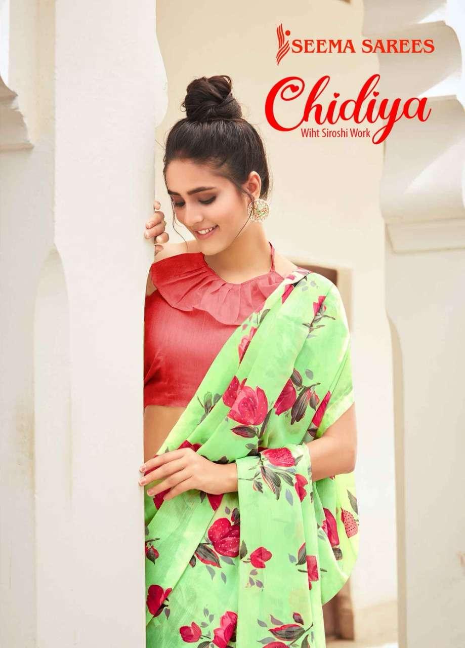 Seema Saree Chidiya Moss Chiffon Printed Sarees