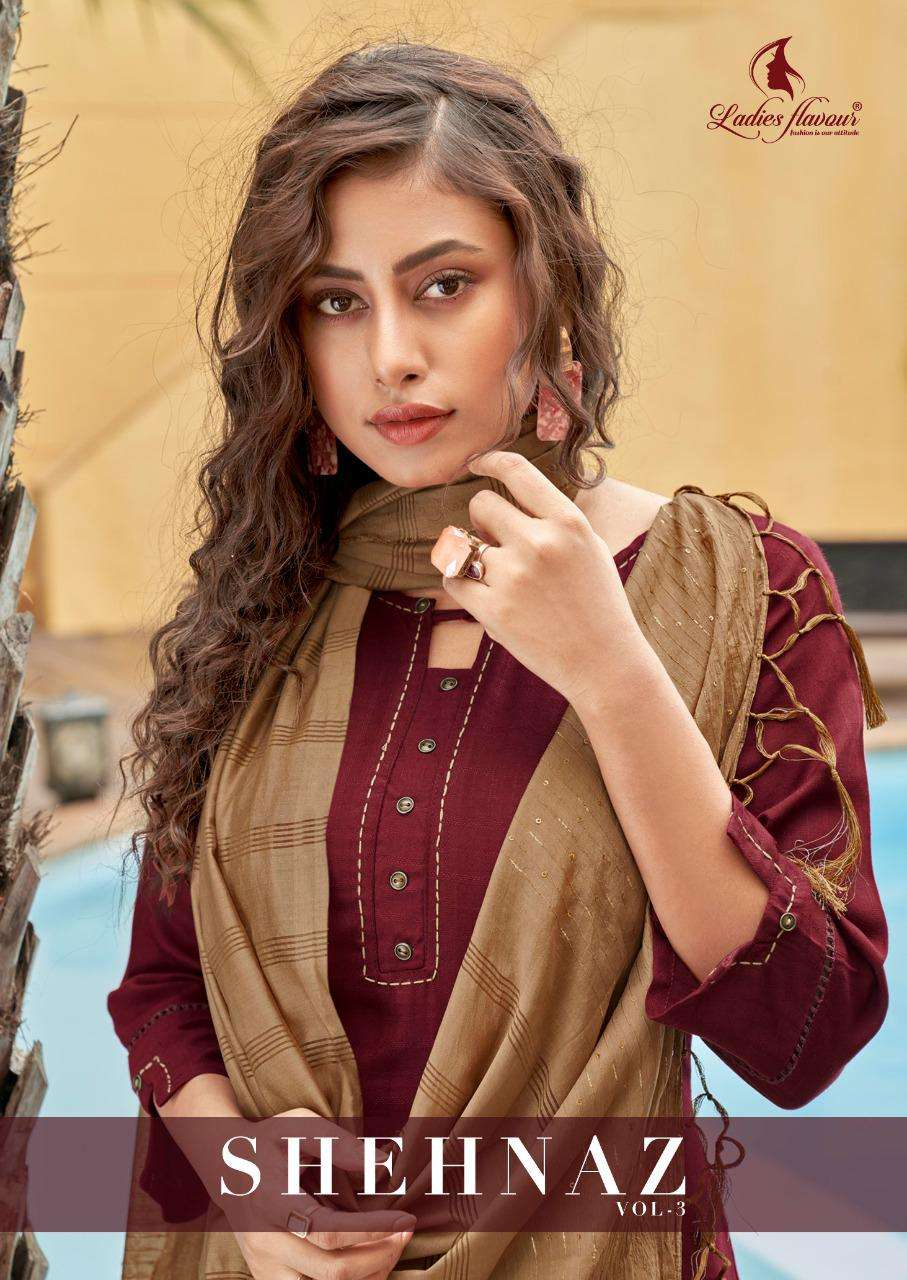 Shehnaz Vol 3 By Ladies Flavour Rayon Full Stitch Suits Supplier