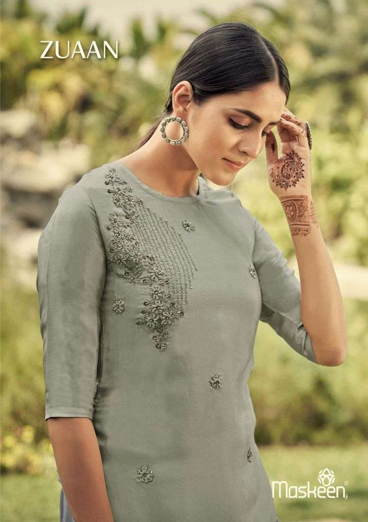 Silk Time Zuaan By Maskeen Designer Top With Pant Supplier