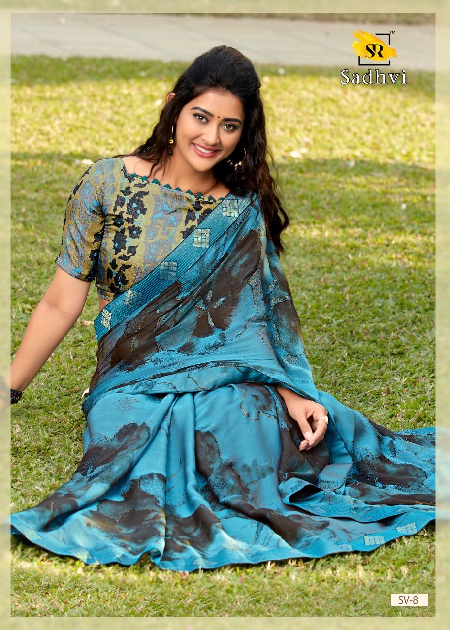 Sr Presents Sadhvi Kashmiri Print With Border Exclusive Synthetic Saree Catalogs Seller