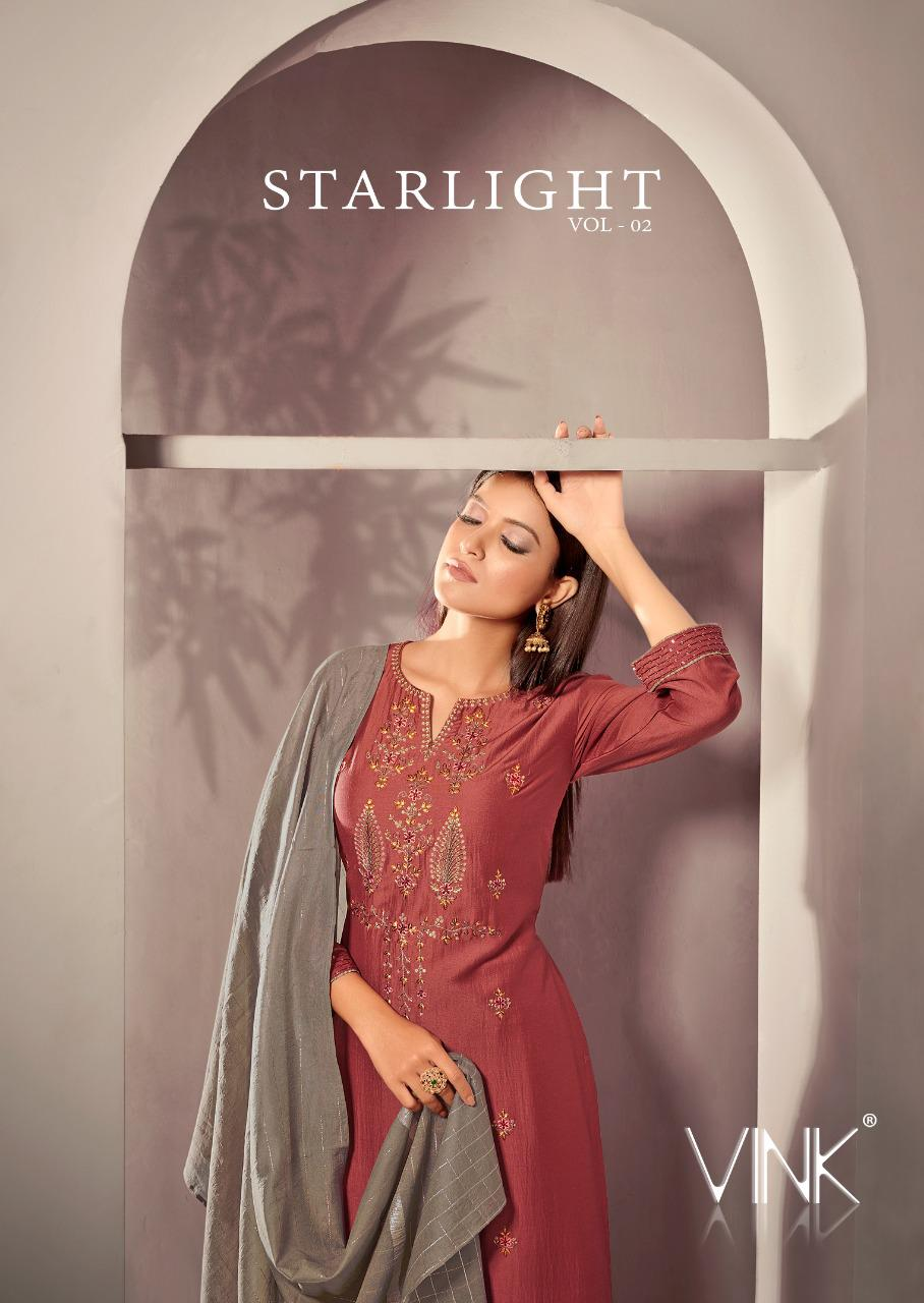 Starlight Vol 2 By Vink Viscose Silk Base Readymade Plazzo Bottom Suits Collections