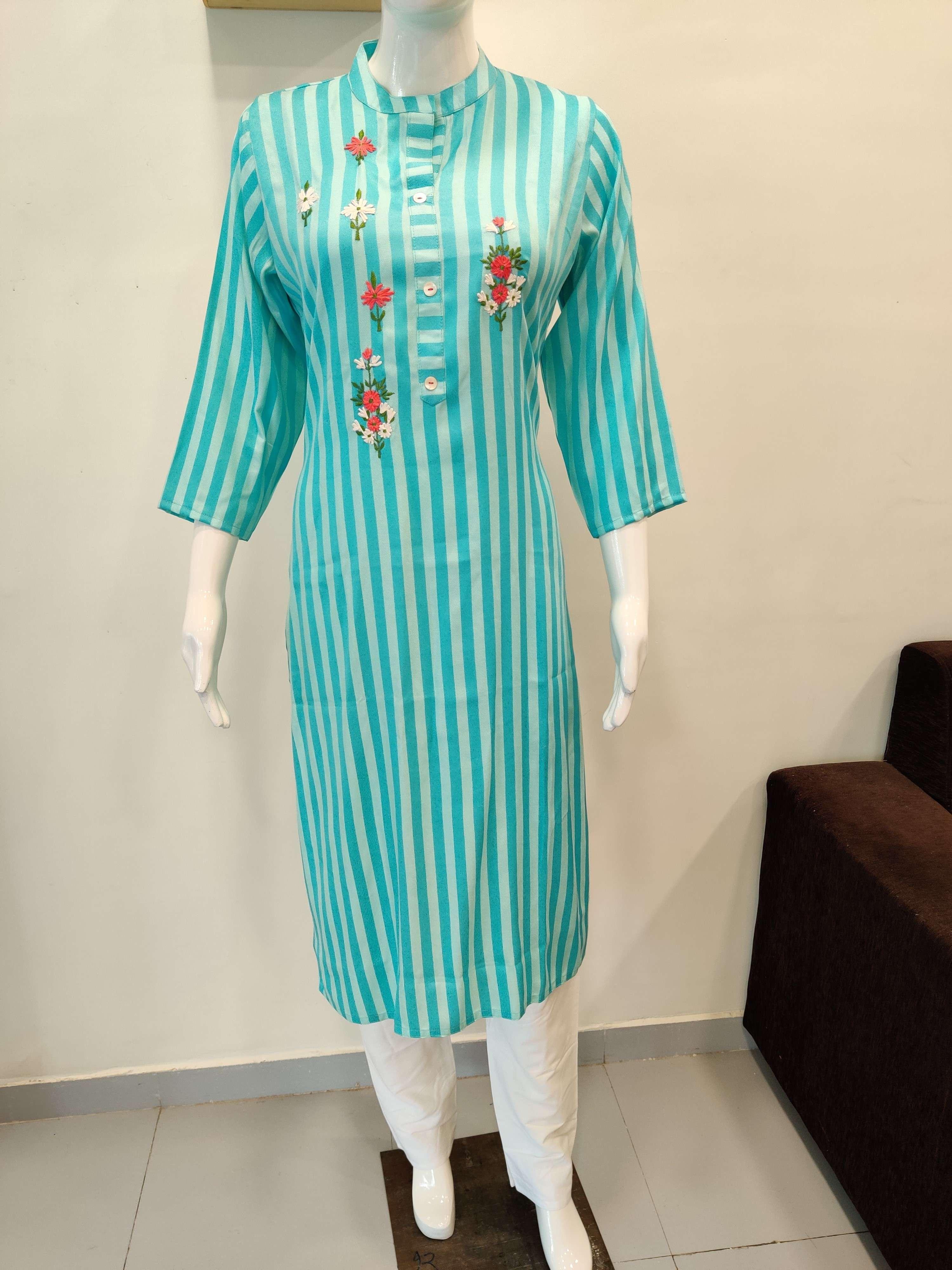 Superior Cotton Stripes Kurti With Embroidery