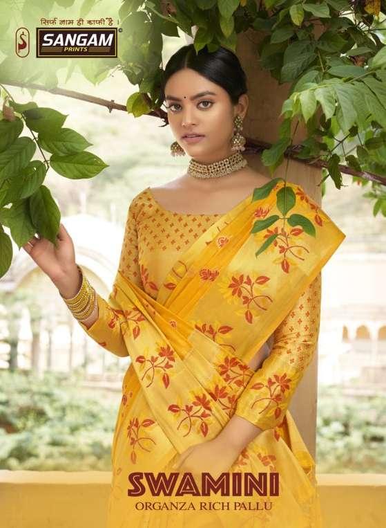 Swamini By Sangam Designer Organza Rich Pallu Weaving Sari Supplier