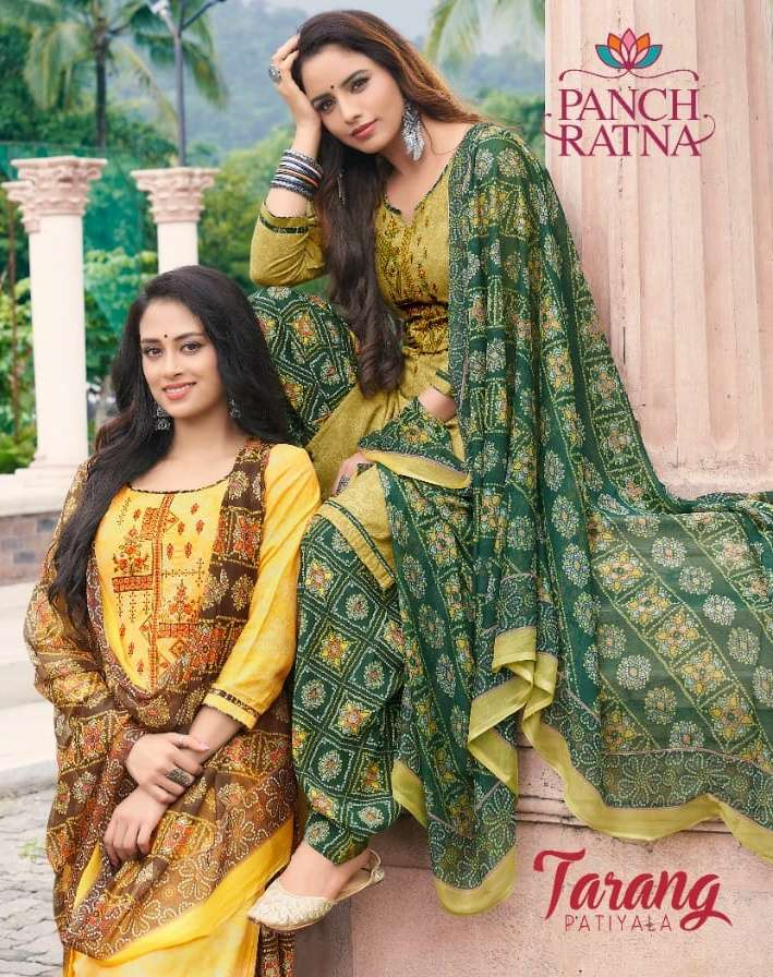 Tarang Patiyala By Panch Ratna Cotton Casual Dress Materials