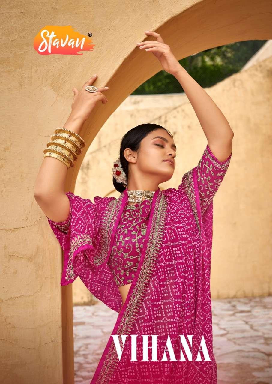 Vihana By Stavan Georgette Fancy Work Saris