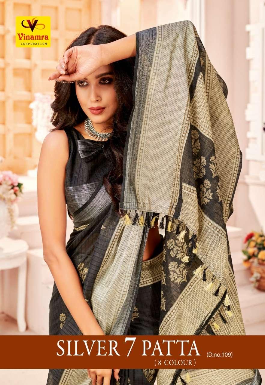 Vinamra Corporation Silver 7 Patta D No 109 Cotton Casual Wear Saree