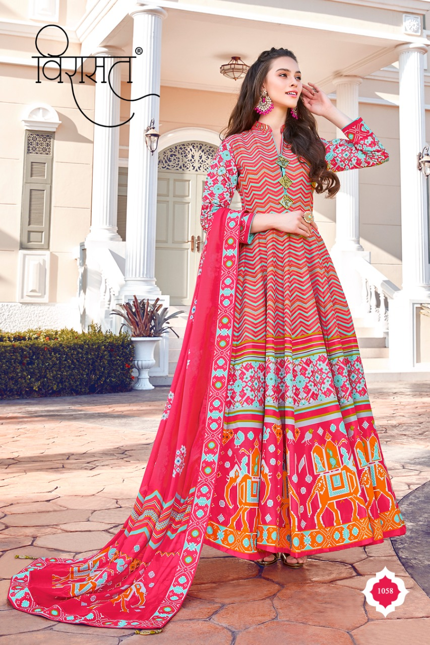 Virasat Presents Mayuri Killer Silk Designer Long Gown Party Wear Exclusive Collections Readymade Suits
