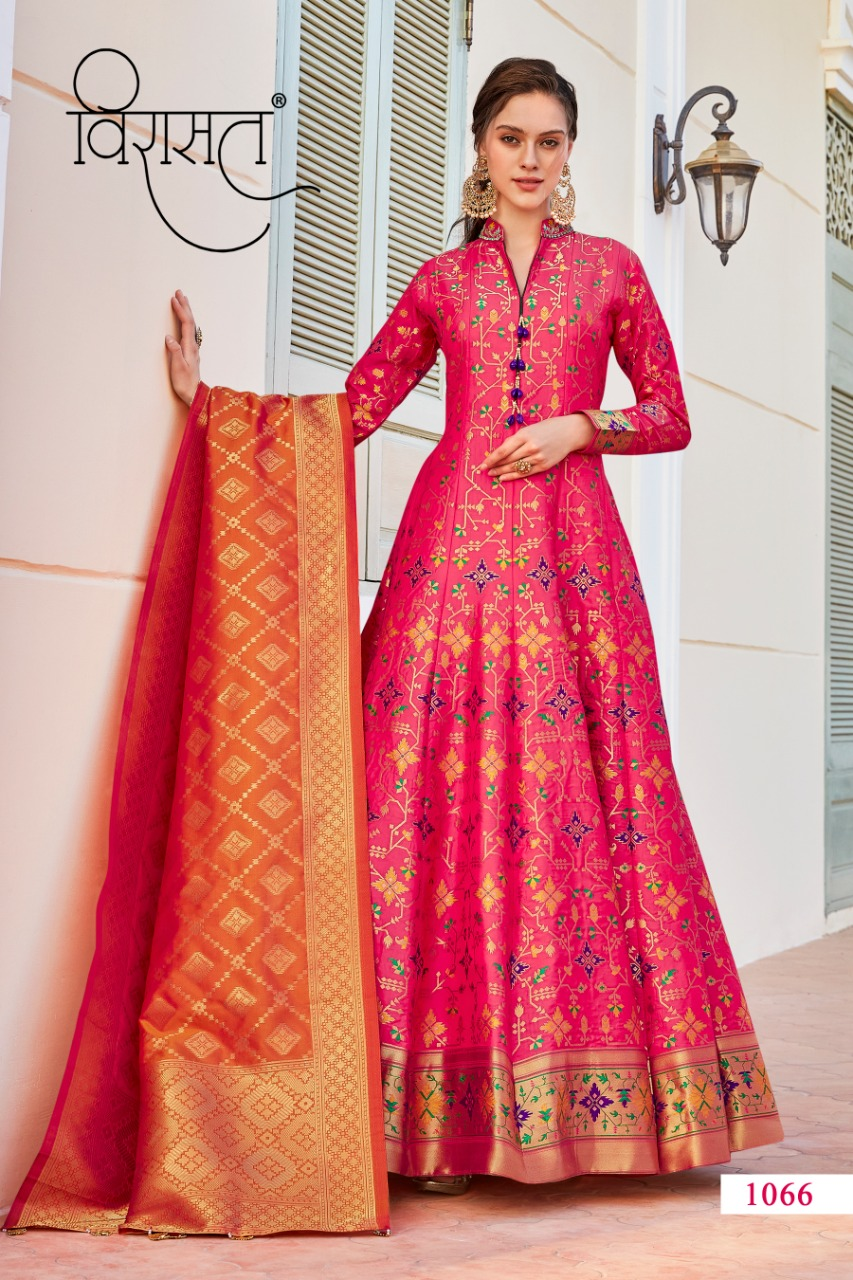 Virasat Sparsh Exclusive Designer Long Gown Style Jacquard Wedding And Party Wear Readymade Suits