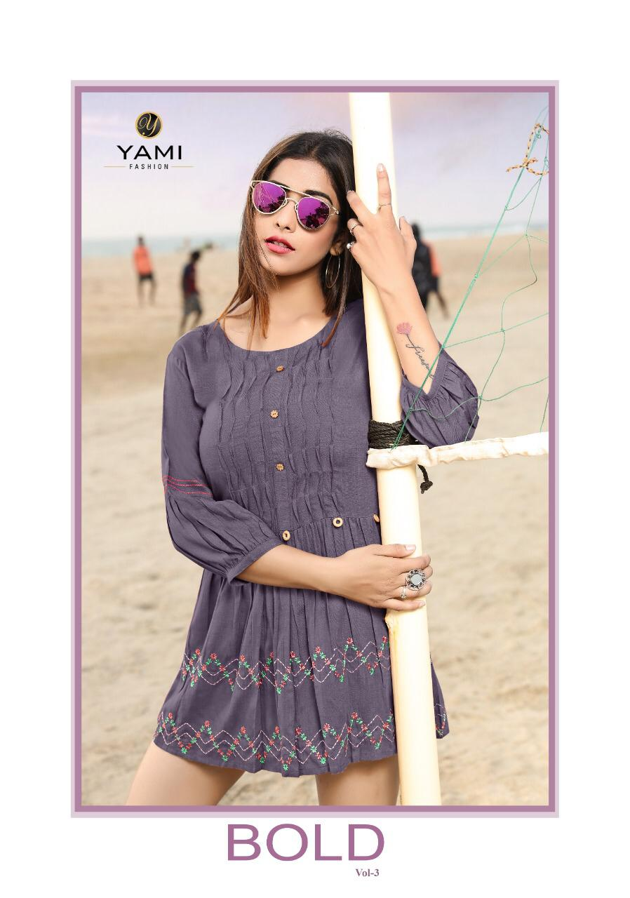Yami Fashion Launch Bold Vol 3 Rayon Base Embroidery Work Western Pattern Short Kurti