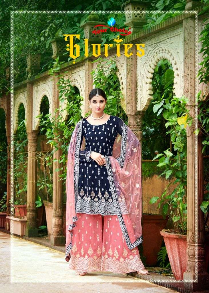 Your Choice Glories Georgette Peplum With Sharara Suits