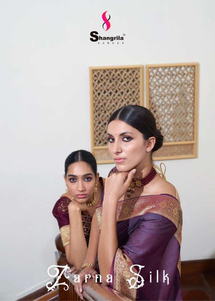 Zarna Silk Original Wedding Barfi Fabric Sarees With Rich Border By Shangrila