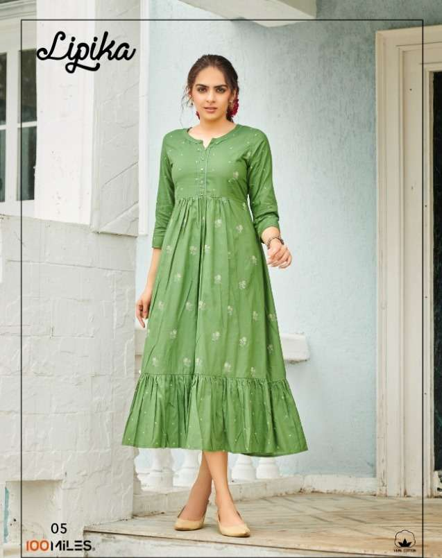 100 miles lipika Pure Giza cotton embroidered long dress with flair gathers