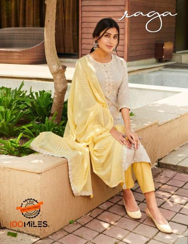 100 miles raga cotton kurti pant with dupatta 3psc set