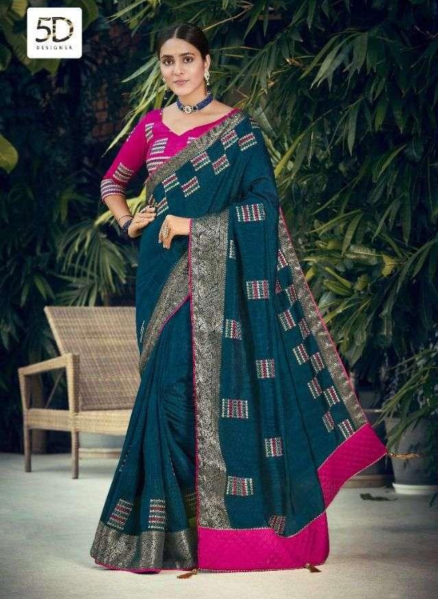 5d designer lajri soft cotton with embroidery sarees wholesaler