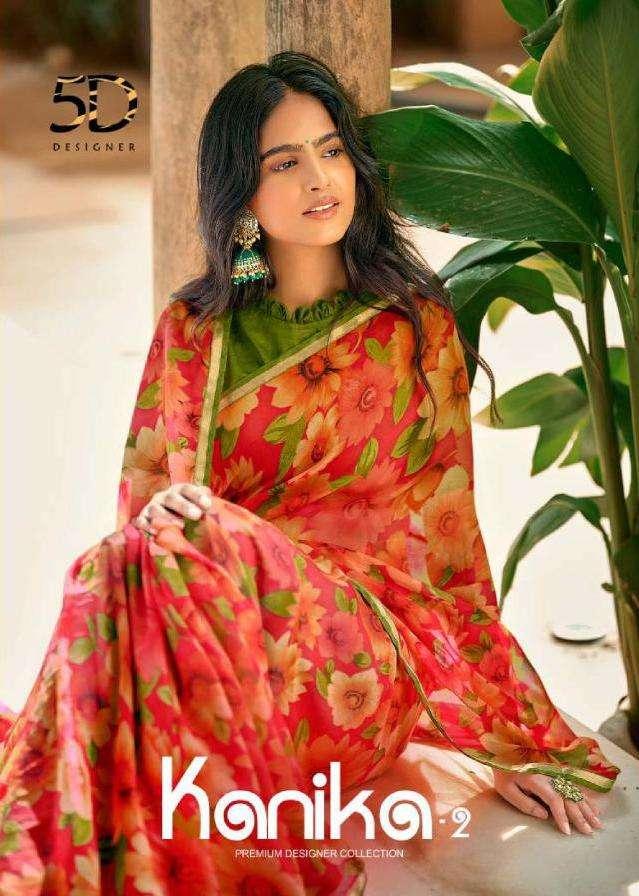 5d kanika vol 2 chiffon printed fancy sarees