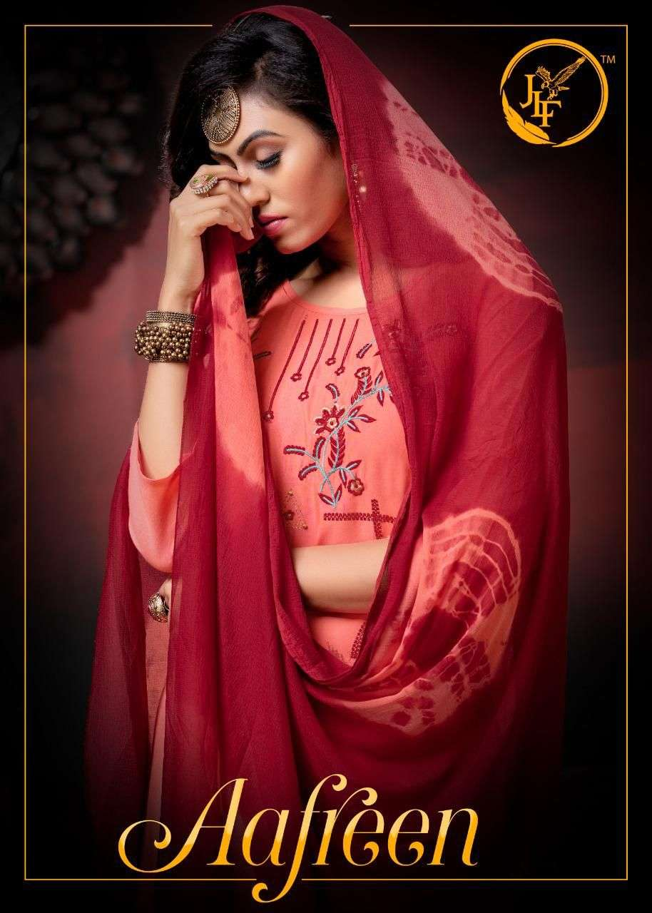 AAFREEN BY JLF HEAVY RAYON WORK WITH FOIL READYMADE SUIT CATALOG WHOLESALER BEST RATE