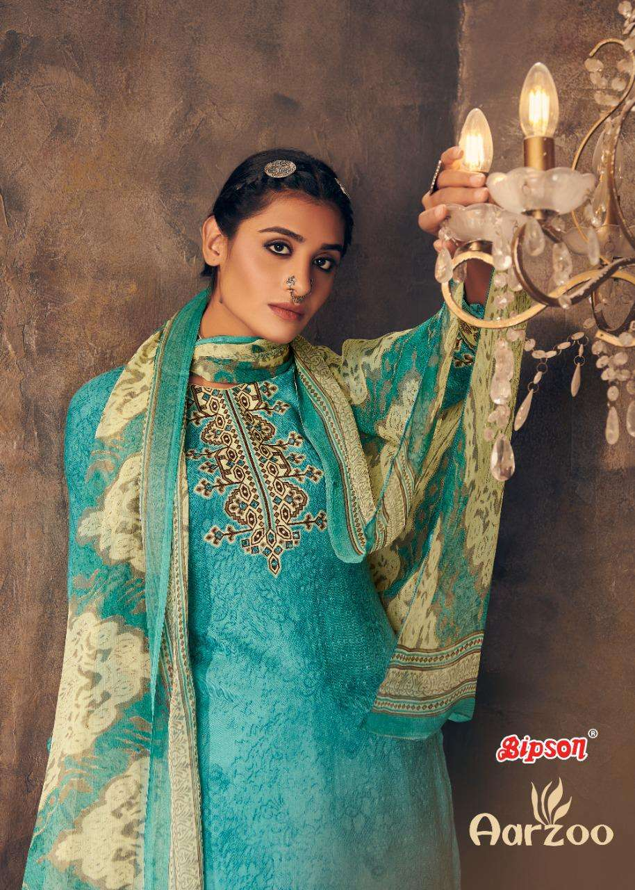 aarzoo by bipson pashmina mirror work winter dress materials