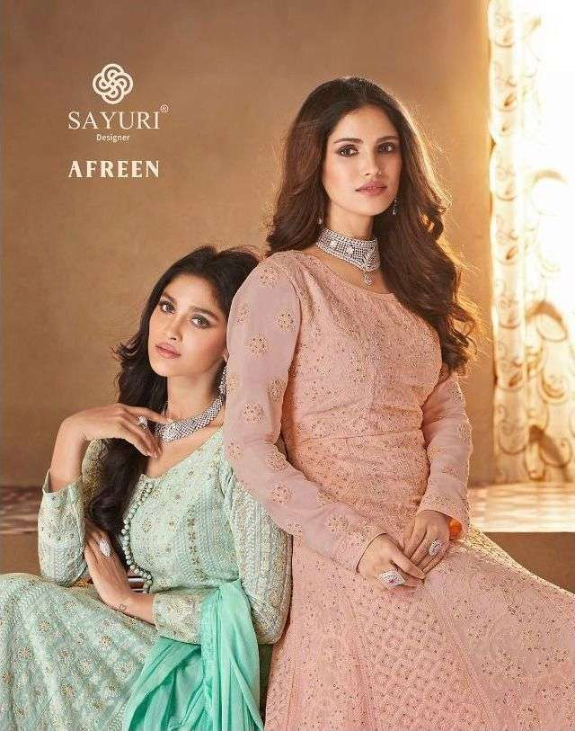afreen by sayuri georgette readymade long suit wholesaler