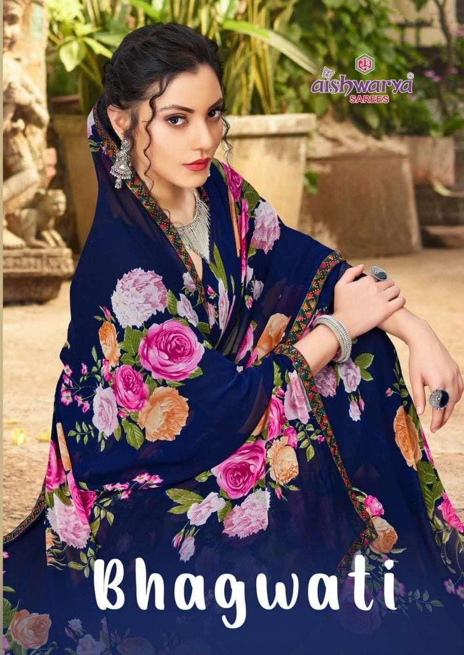 aishwarya bhagvati casual wear printed saris wholesaler
