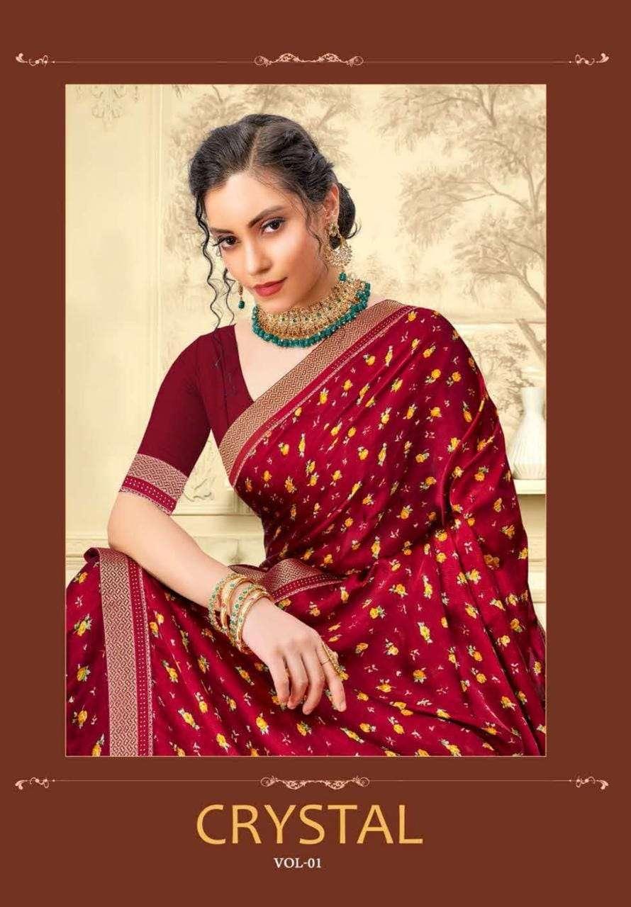 aishwarya crystal satin chiffon saris wholesaler in surat