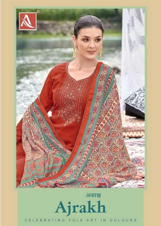 Alok suit launch ajrakh fancy pure wool pashmina salwar kameez