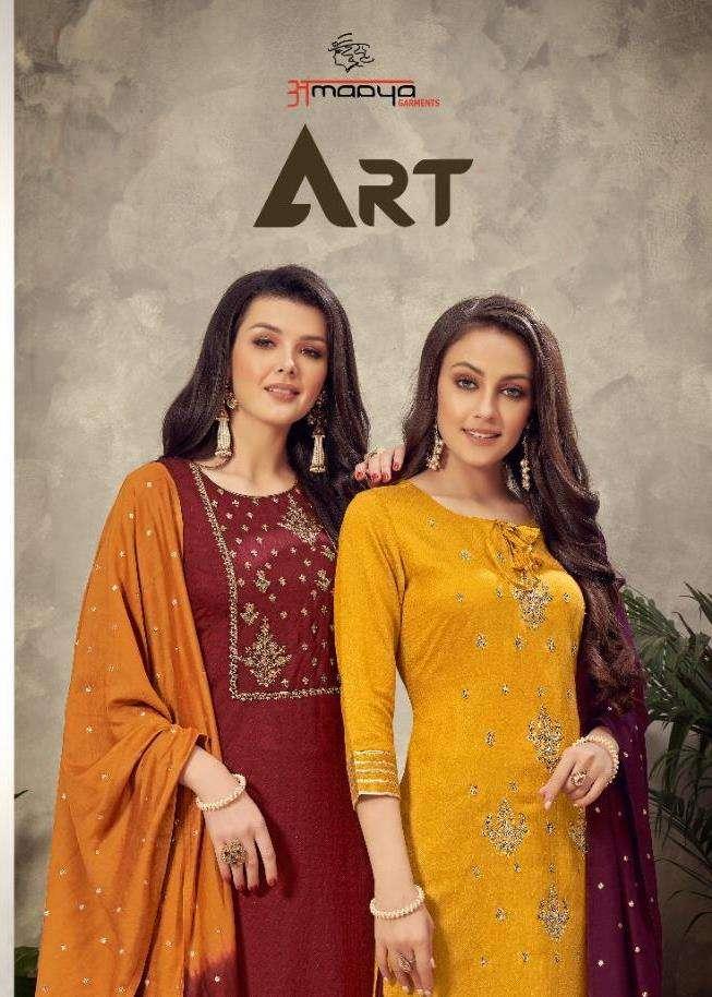 amaaya garments art fancy kurti with bottom and dupatta