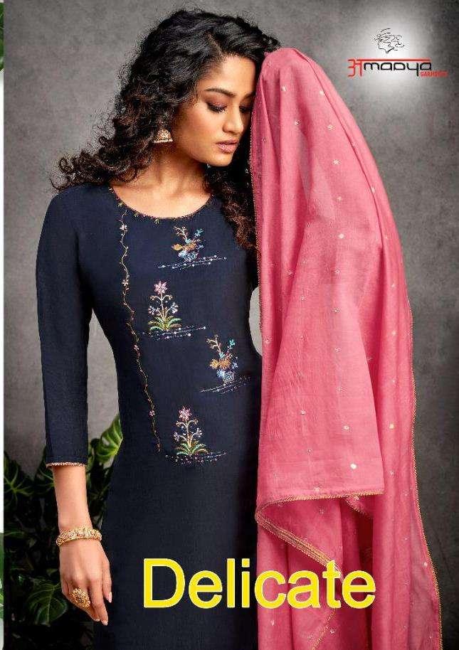 amaaya garments delicate kurti with bottom and pure wiscose dupatta includes jaquard jari butti