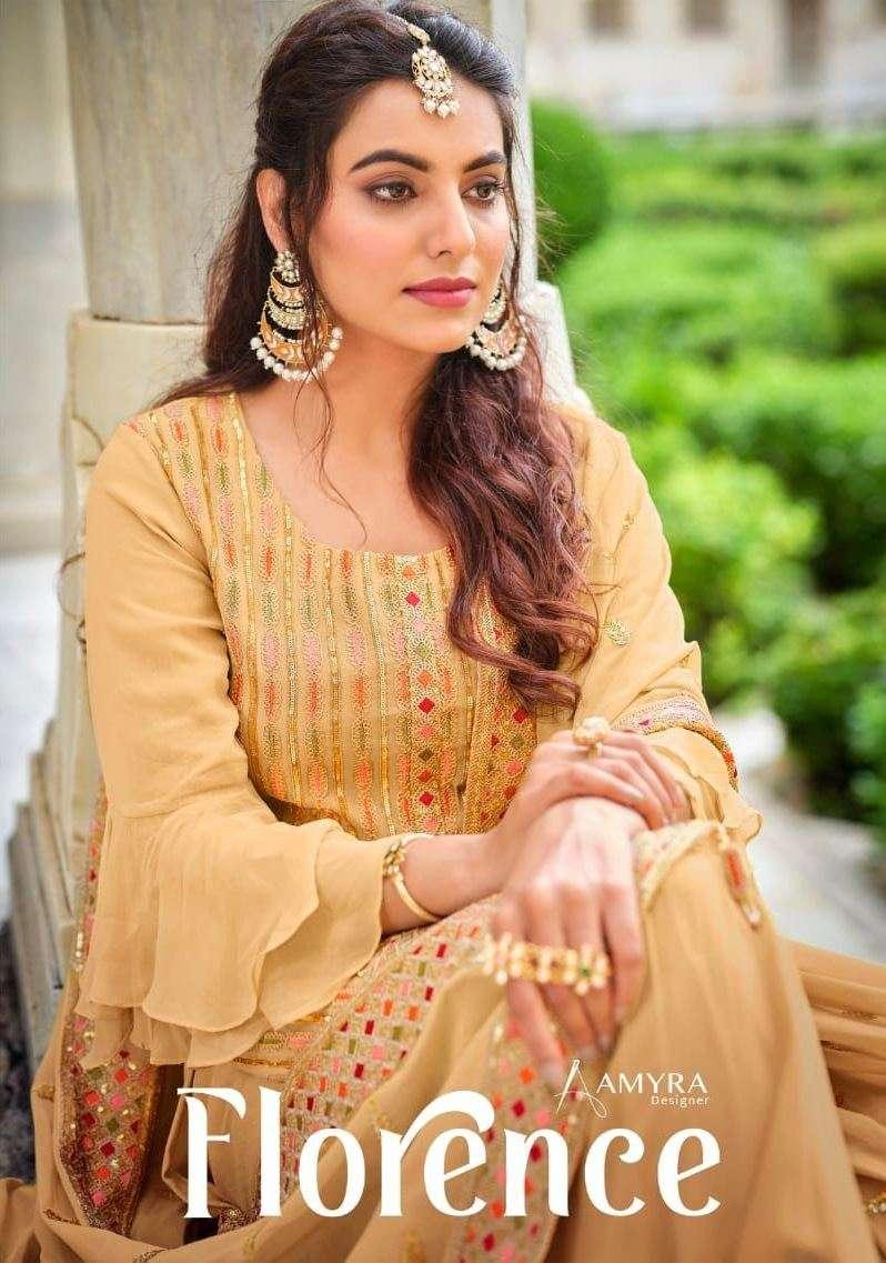 amyra designer florence georgette designer festival wear kurti with sharara & dupatta