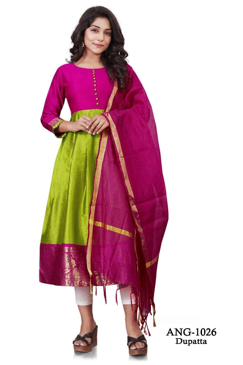 ang 1026 silk kurti with fancy dupatta concept