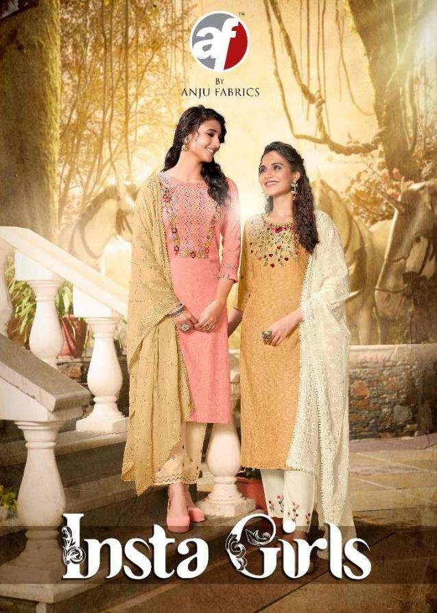 anju fab insta girls readymade kurti pant with heavy dupatta set