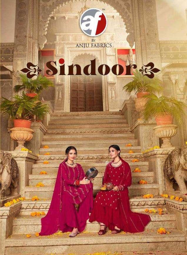 anju fab sindoor 3 pcs kurti and dupatta with sharara set