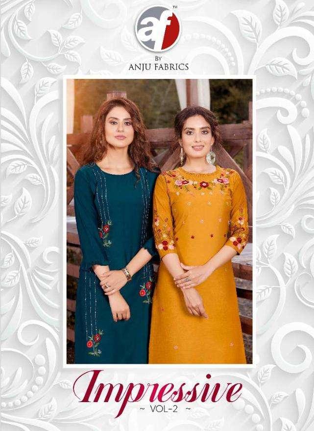 anju impressive vol 2 silk long fancy kurtis supplier