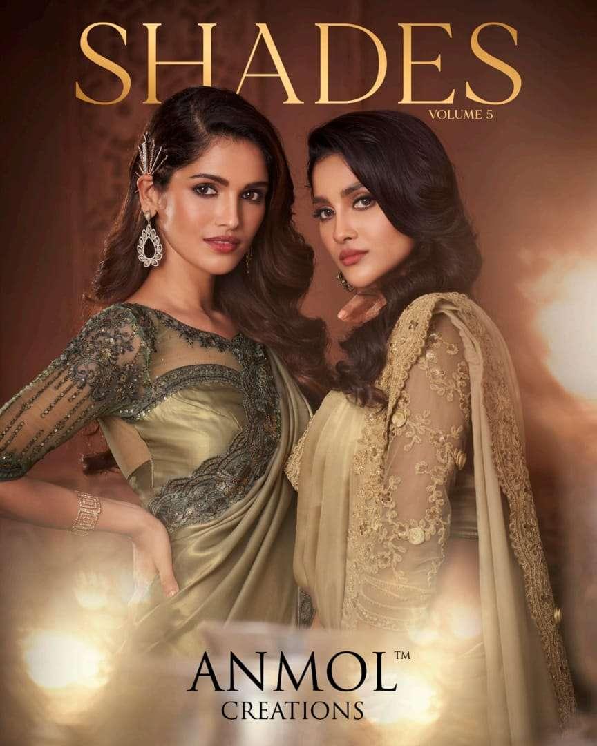 anmol creations shades vol 5 3101-3118 series party wear wedding saris catalog