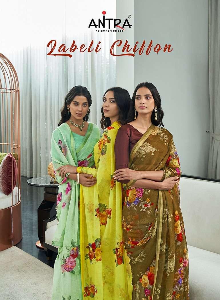 antra labeli chiffon printed saris supplier