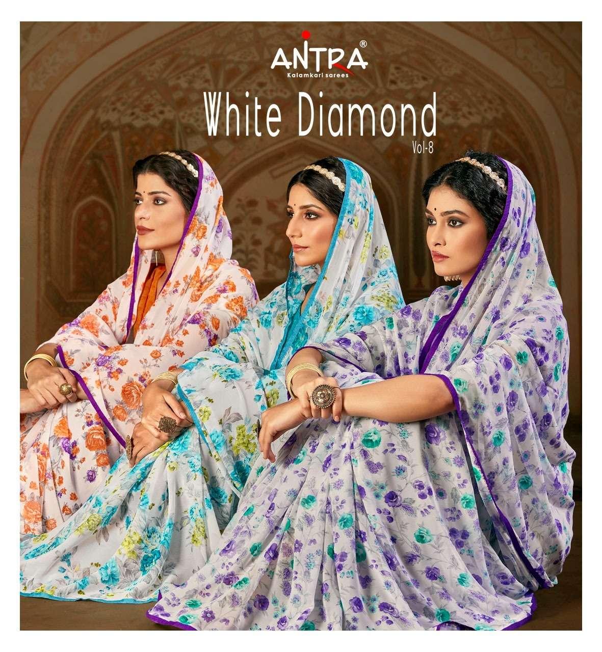 antra white diamond vol 8 flower printed fancy saree collection