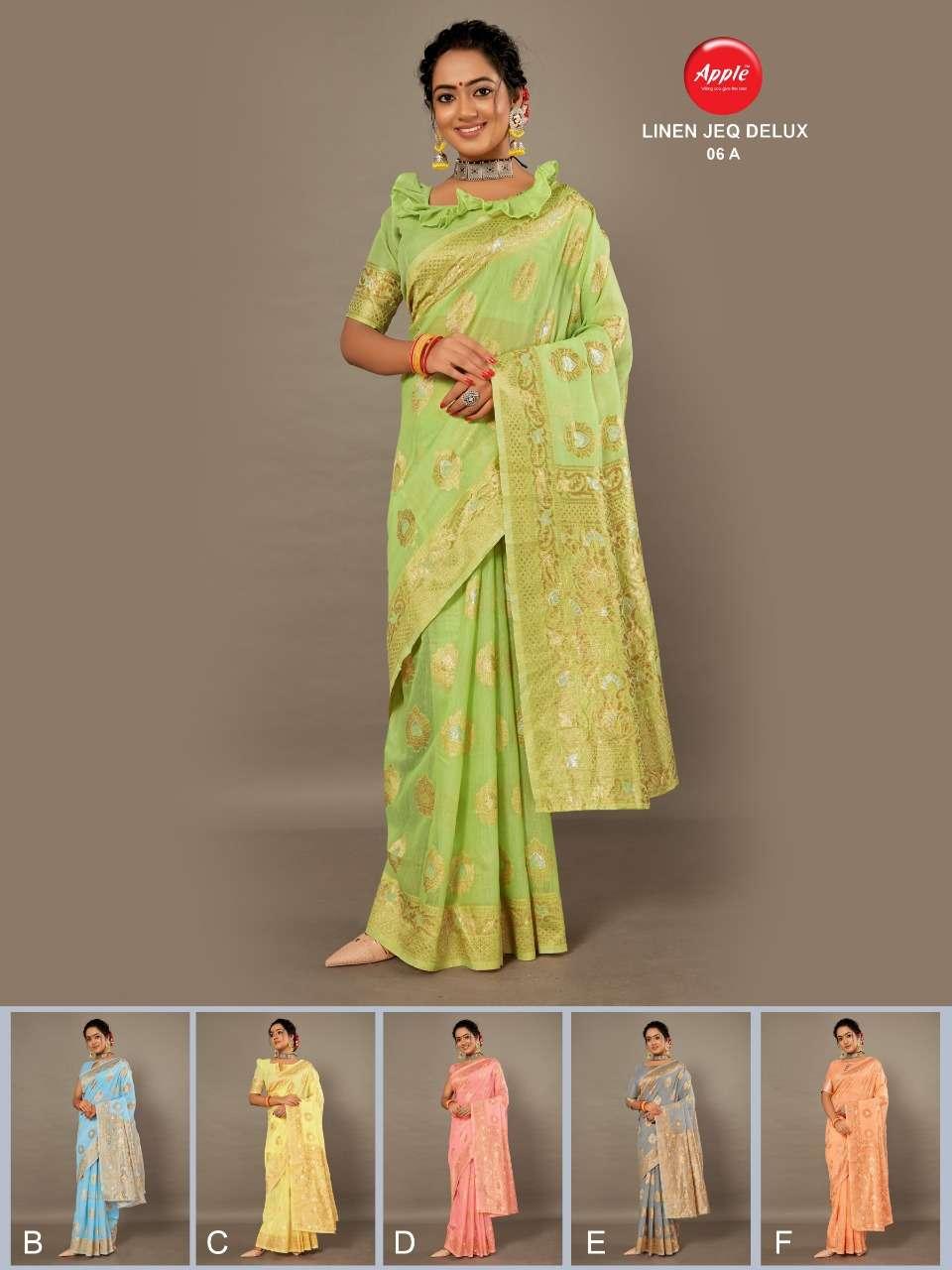 apple linen jaqauard delux fancy saree with zari border