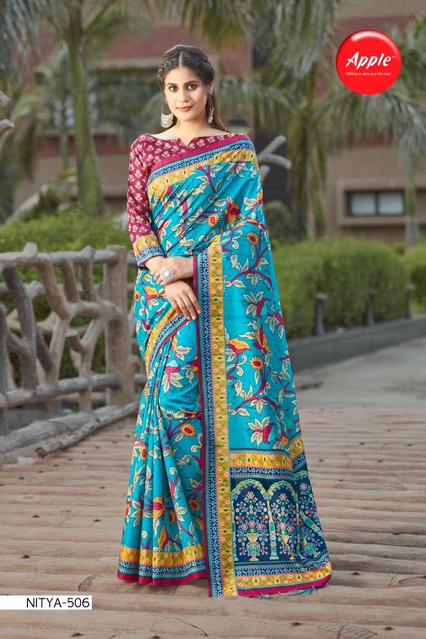 Apple sarees launch nitya silk vol 5 casual wear bhagalpuri cotton digital printed sarees