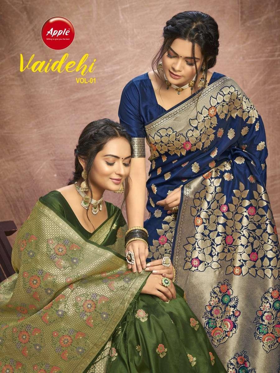 apple sarees launch vaidehi vol 1 smart silk pure zari weaving fancy sarees