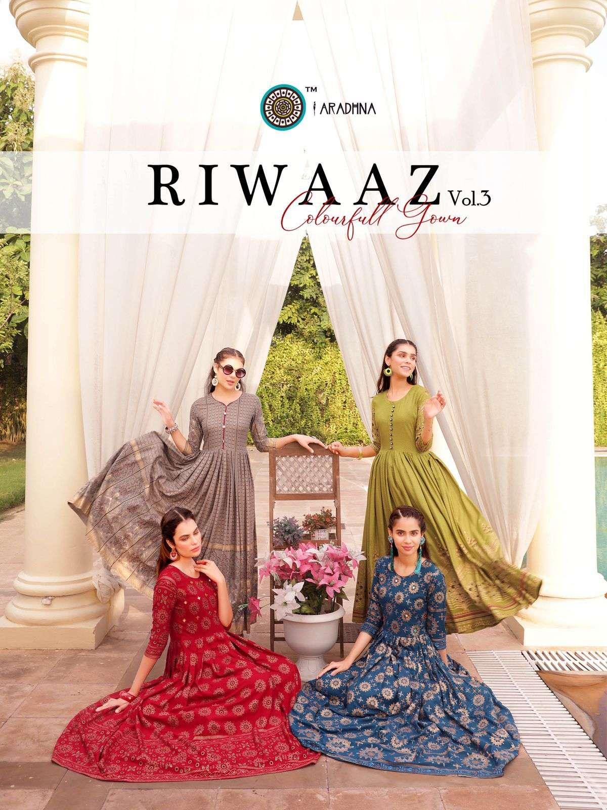 aradhna riwaaz vol 3 rayon long gown style kurtis anarkali pattern